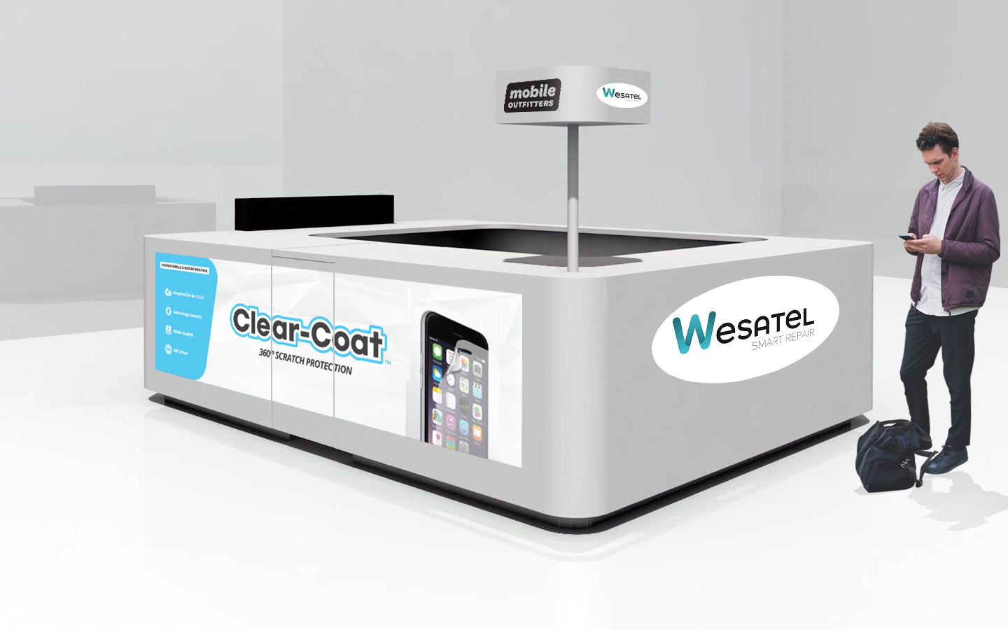 Wesatel und Mobile Outfitters in einem Stand
