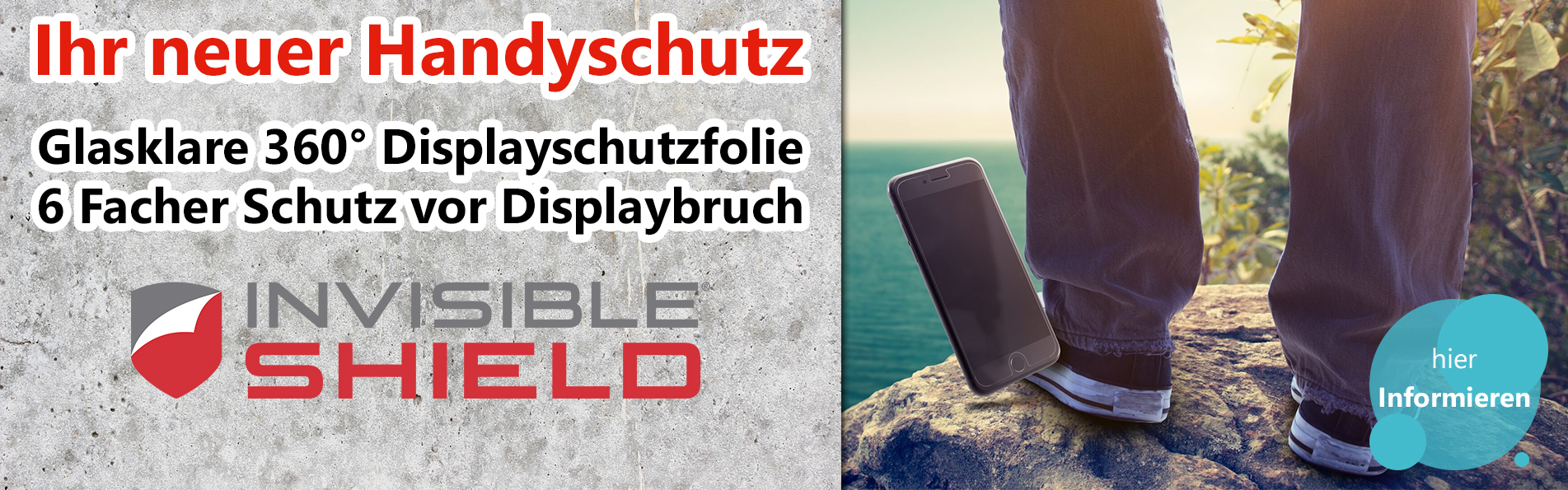 Invisible Shield DisplayschutzfolieWesatel Banner Webseite